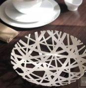 Frutera moderna de metal color blanco hus concept