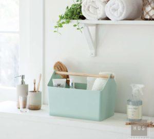 Caja plastica organizadora verde agua