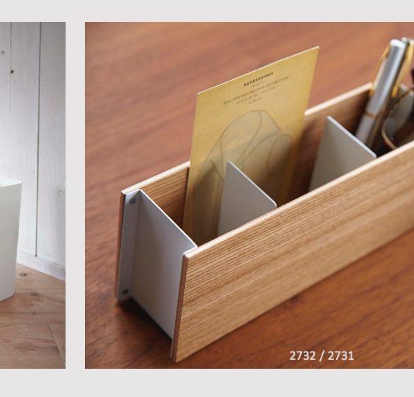 Promoción de linea blanca de cesto papelero mas organizador de escritorio
