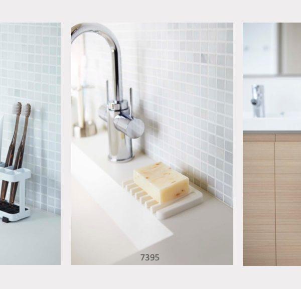 Promoción linea blanca jabonera, organizador de cepillos de dientes y porta secador de pelo